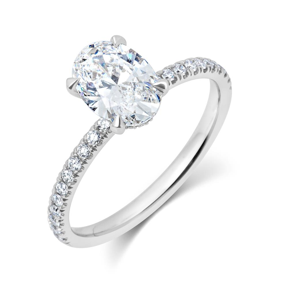 Platinum Oval Diamond Solitaire Engagement Ring 1.39ct Thumbnail Image 0