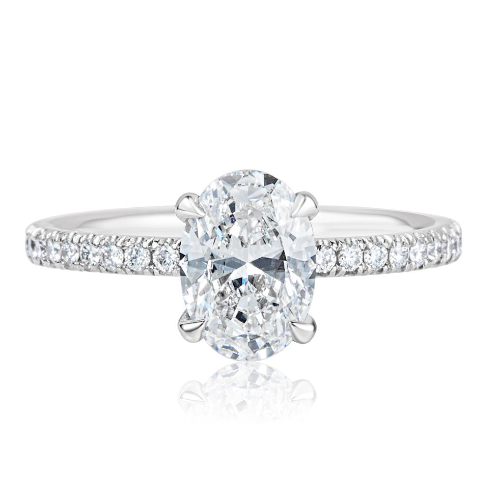 Platinum Oval Diamond Solitaire Engagement Ring 1.39ct Thumbnail Image 1