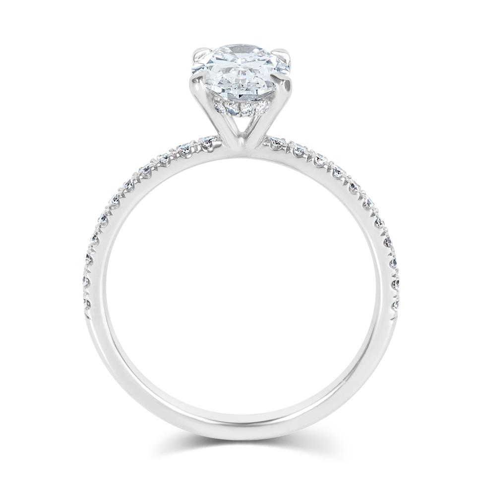 Platinum Oval Diamond Solitaire Engagement Ring 1.39ct Thumbnail Image 2