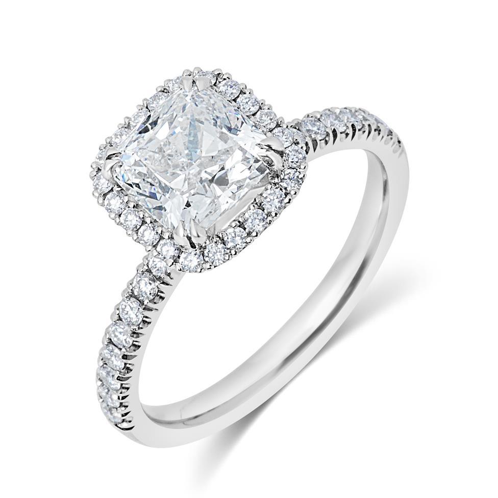 Platinum Cushion Cut Diamond Halo Engagement Ring 2.19ct Thumbnail Image 0