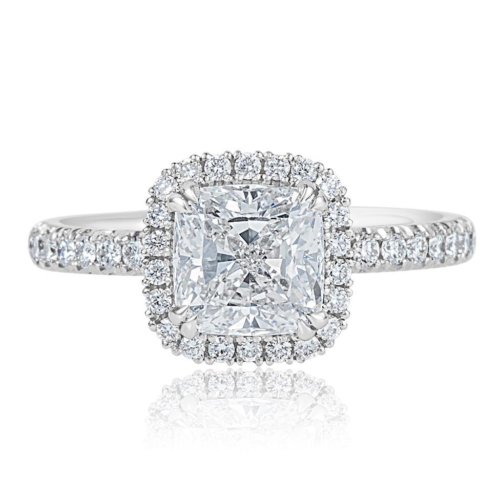 Platinum Cushion Cut Diamond Halo Engagement Ring 2.19ct Thumbnail Image 1