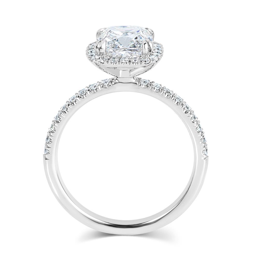 Platinum Cushion Cut Diamond Halo Engagement Ring 2.19ct Thumbnail Image 2
