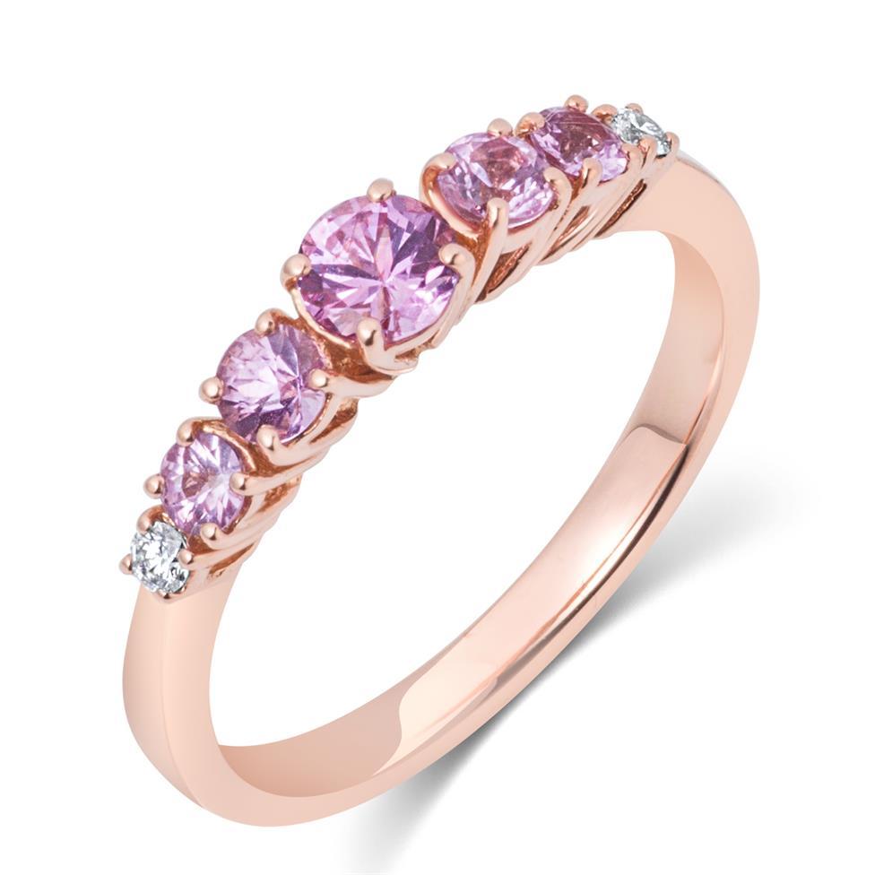 Bonbon 18ct Rose Gold Pink Sapphire and Diamond Dress Ring Thumbnail Image 0