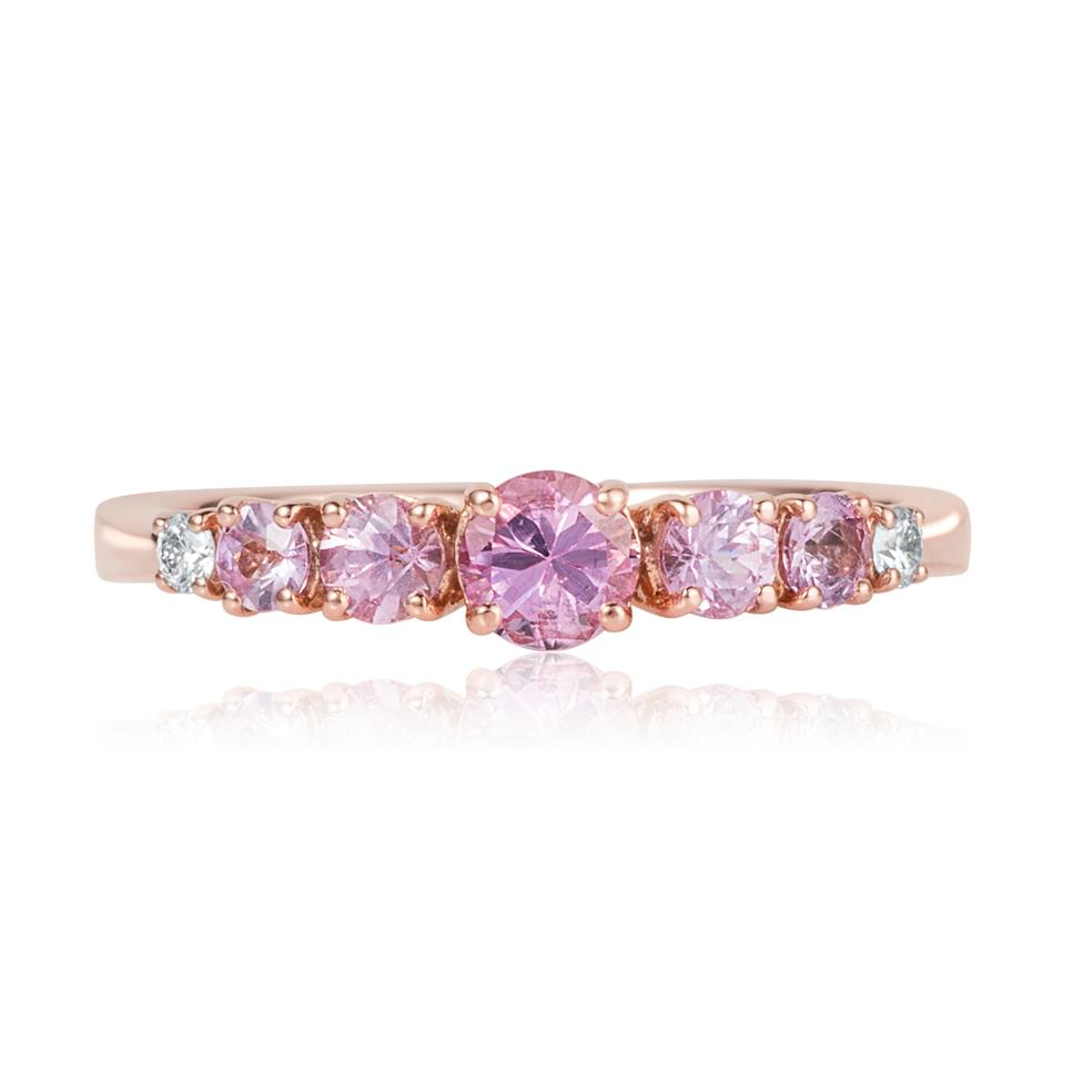 Bonbon 18ct Rose Gold Pink Sapphire and Diamond Dress Ring Thumbnail Image 1
