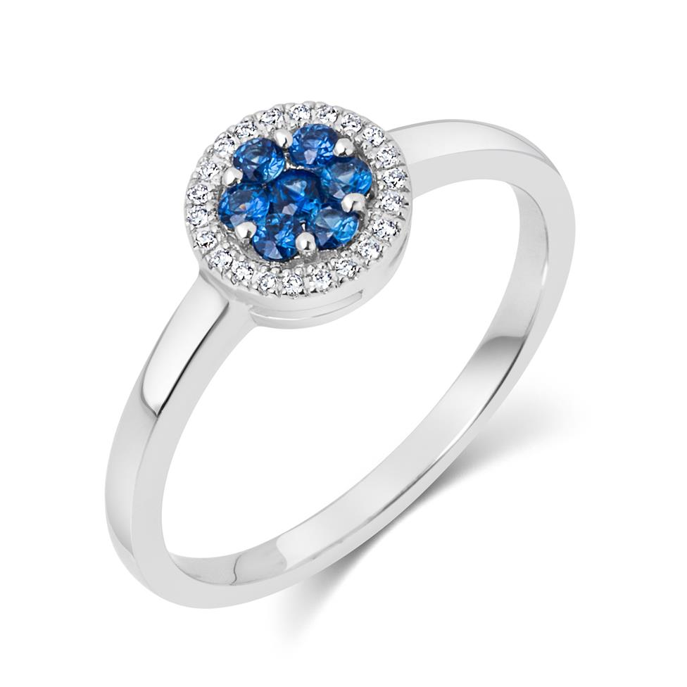 18ct White Gold Illusion Detail Sapphire and Diamond Cluster Dress Ring Thumbnail Image 0