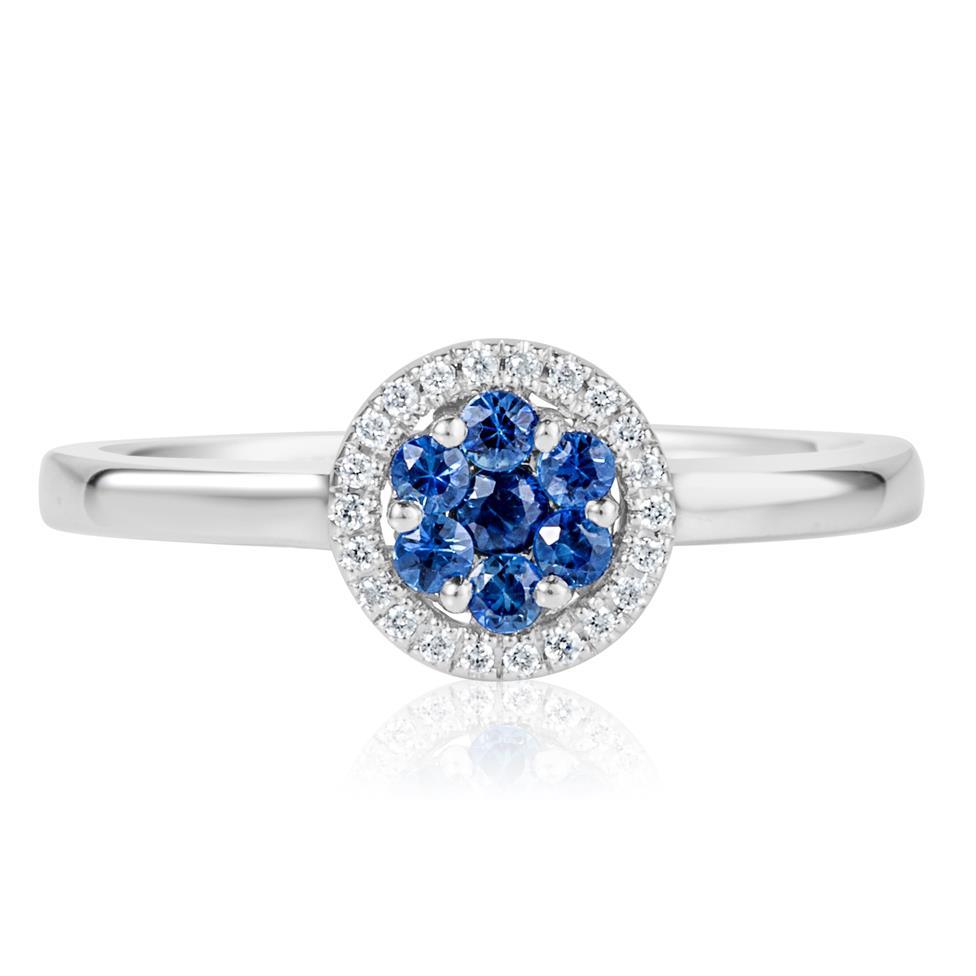 18ct White Gold Illusion Detail Sapphire and Diamond Cluster Dress Ring Thumbnail Image 1