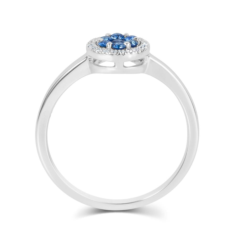 18ct White Gold Illusion Detail Sapphire and Diamond Cluster Dress Ring Thumbnail Image 2