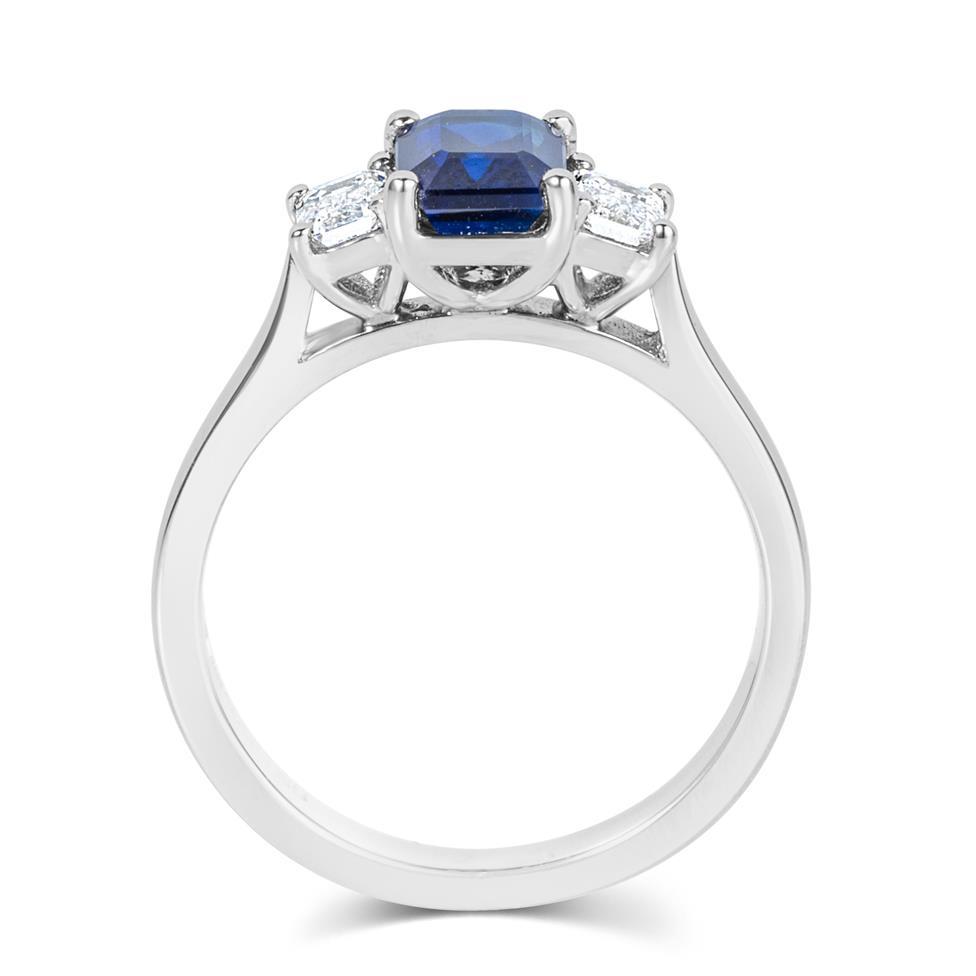 Platinum Emerald Cut Sapphire and Diamond Three Stone Engagement Ring Thumbnail Image 2