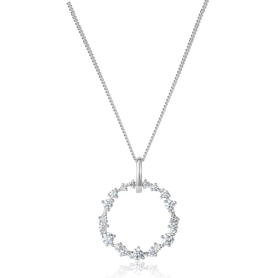 18ct White Gold Circle Design Diamond Pendant 0.33ct Thumbnail Image 0