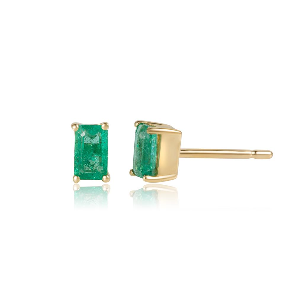 18ct Yellow Gold Emerald Solitaire Stud Earrings Thumbnail Image 0