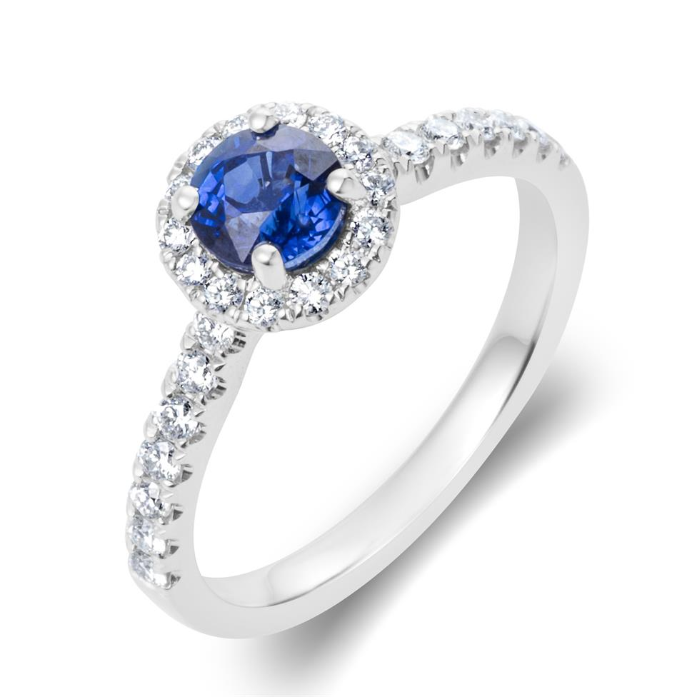 18ct White Gold Sapphire and Diamond Halo Engagement Ring Thumbnail Image 0