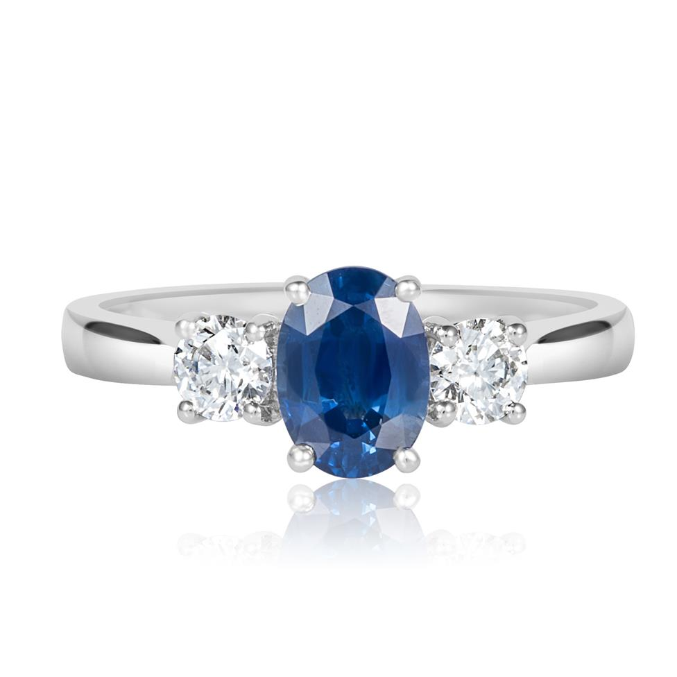 18ct White Gold Oval Sapphire and Diamond Three Stone Engagement Ring Thumbnail Image 1