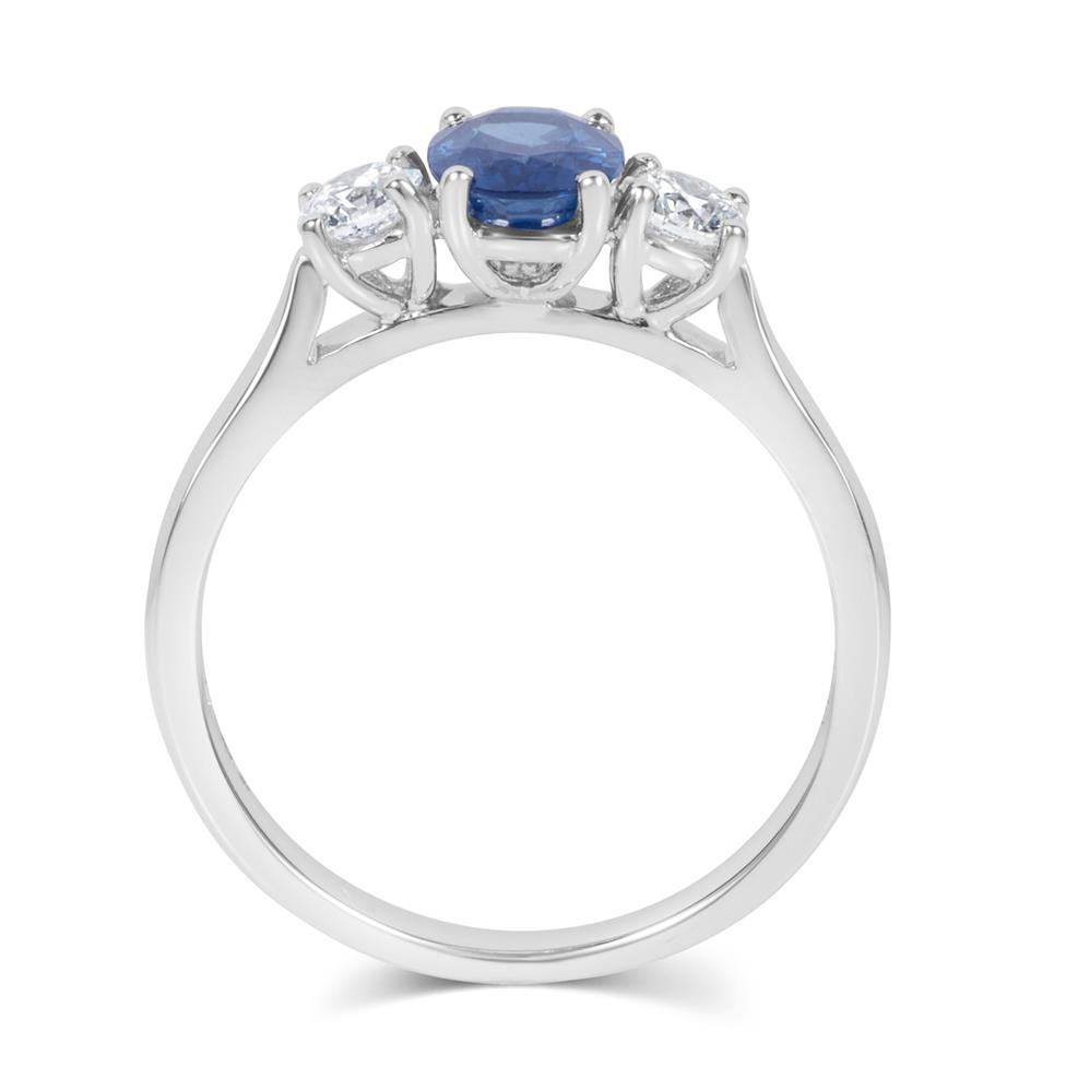 18ct White Gold Oval Sapphire and Diamond Three Stone Engagement Ring Thumbnail Image 2