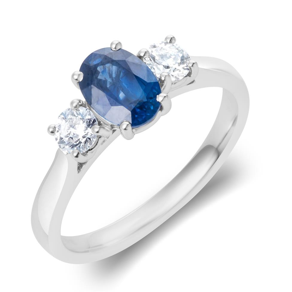 18ct White Gold Oval Sapphire and Diamond Three Stone Engagement Ring Thumbnail Image 0
