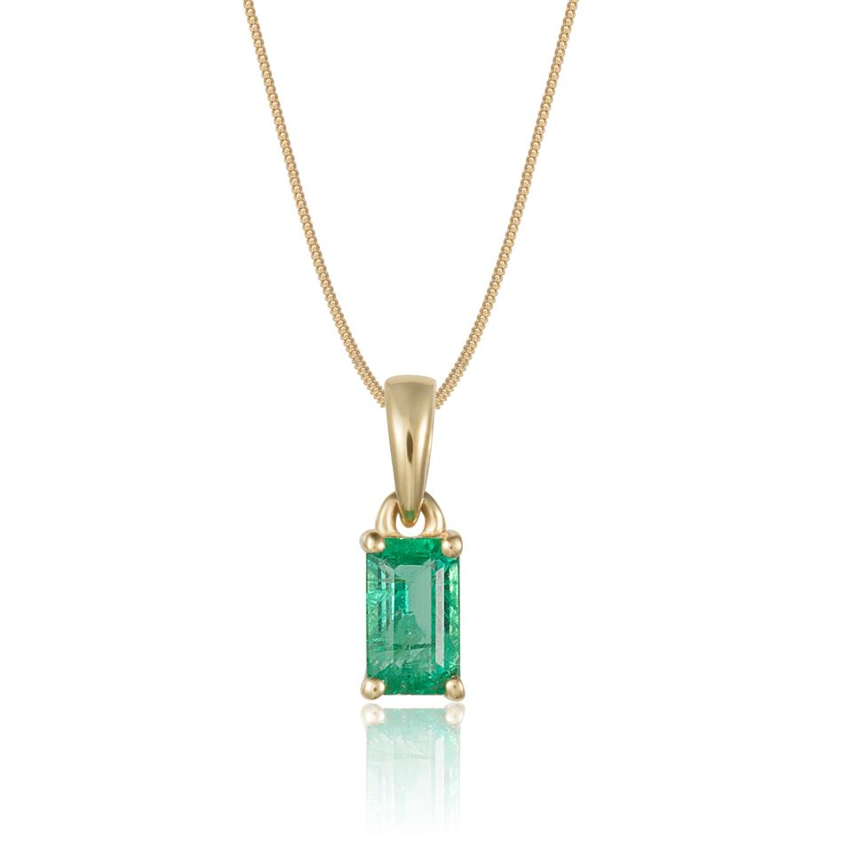 18ct Yellow Gold Solitaire Emerald Pendant Thumbnail Image 0