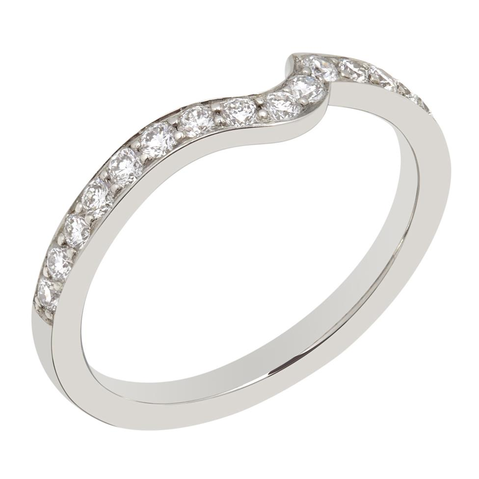 Platinum Diamond Set Shaped Wedding Ring 0.25ct Thumbnail Image 0