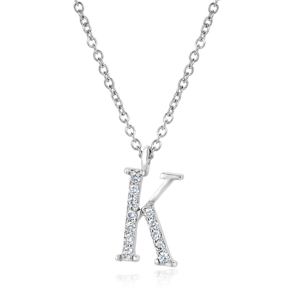 18ct White Gold Diamond Initial Necklace K Thumbnail Image 0