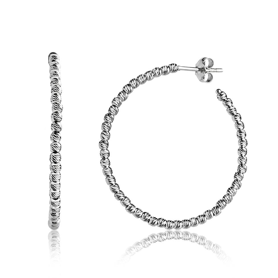 18ct White Gold Faceted Hoop Earrings 40mm Thumbnail Image 0