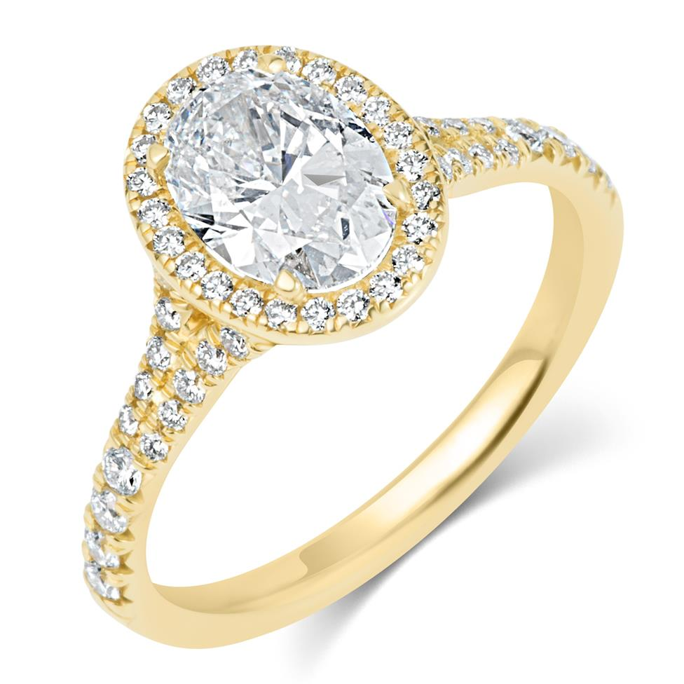 18ct Yellow Gold Split Shoulder Detail Oval Diamond Halo Engagement Ring 1.63ct Thumbnail Image 0