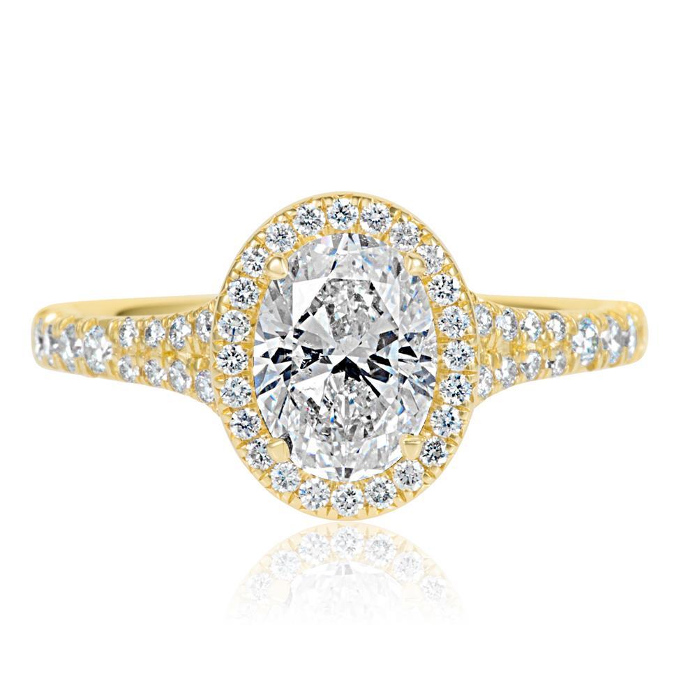 18ct Yellow Gold Split Shoulder Detail Oval Diamond Halo Engagement Ring 1.63ct Thumbnail Image 2