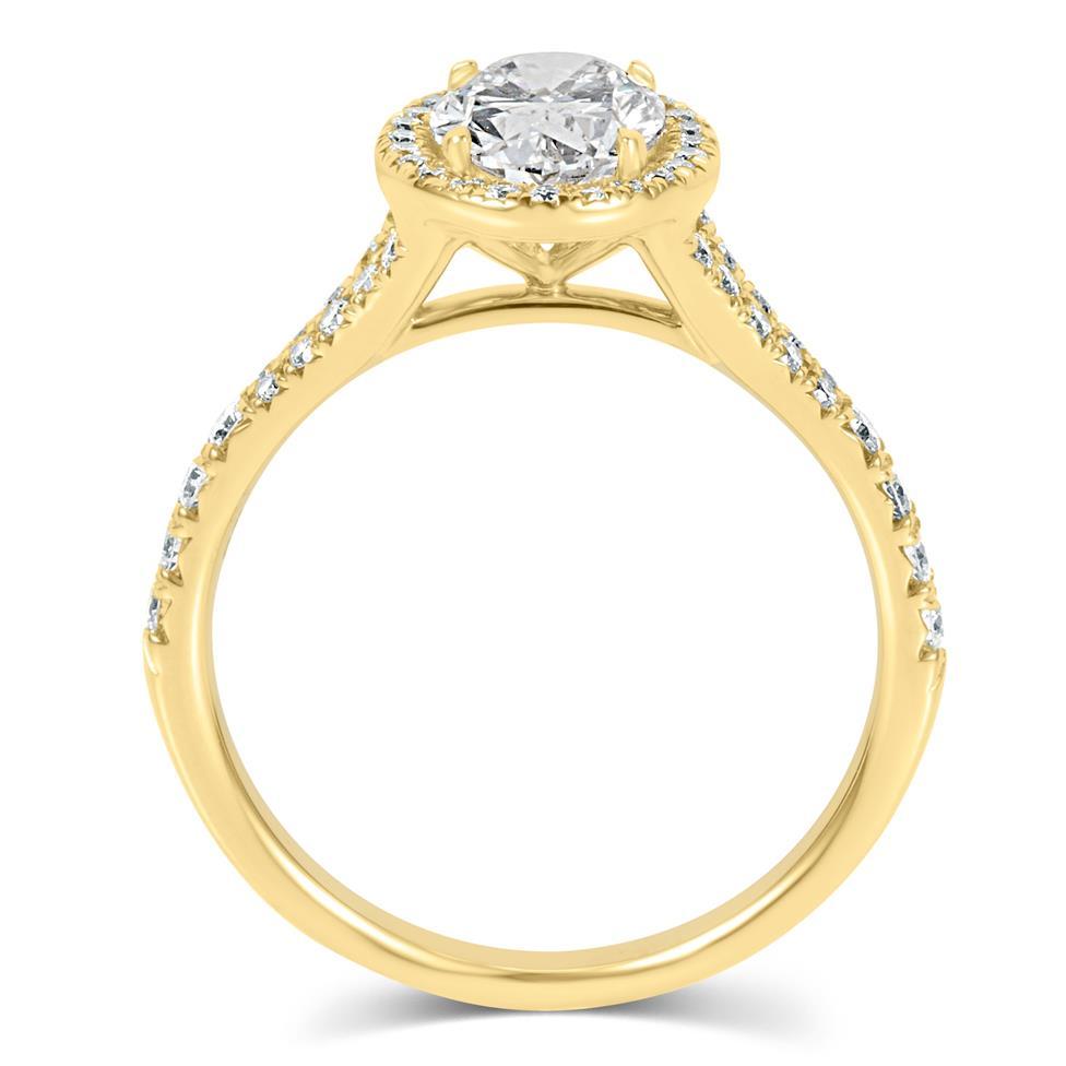 18ct Yellow Gold Split Shoulder Detail Oval Diamond Halo Engagement Ring 1.63ct Thumbnail Image 3