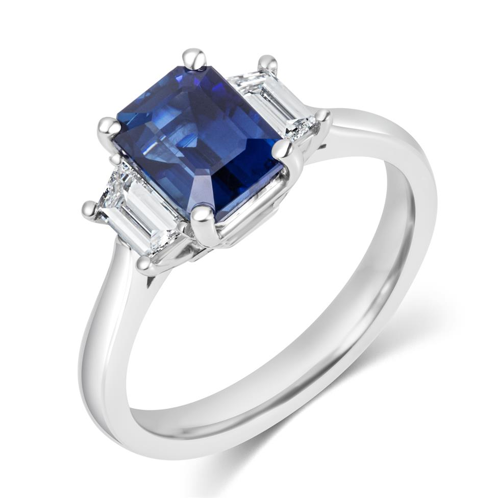 Platinum Sapphire and Trapezium Cut Diamond Three Stone Engagement Ring Thumbnail Image 0