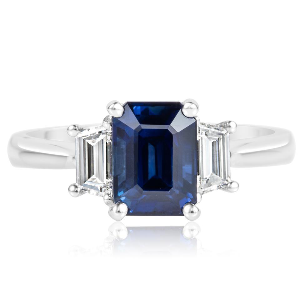 Platinum Sapphire and Trapezium Cut Diamond Three Stone Engagement Ring Thumbnail Image 2
