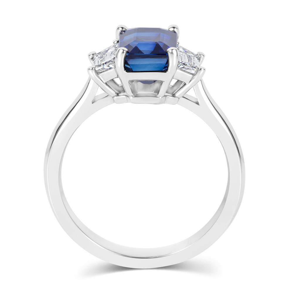 Platinum Sapphire and Trapezium Cut Diamond Three Stone Engagement Ring Thumbnail Image 3