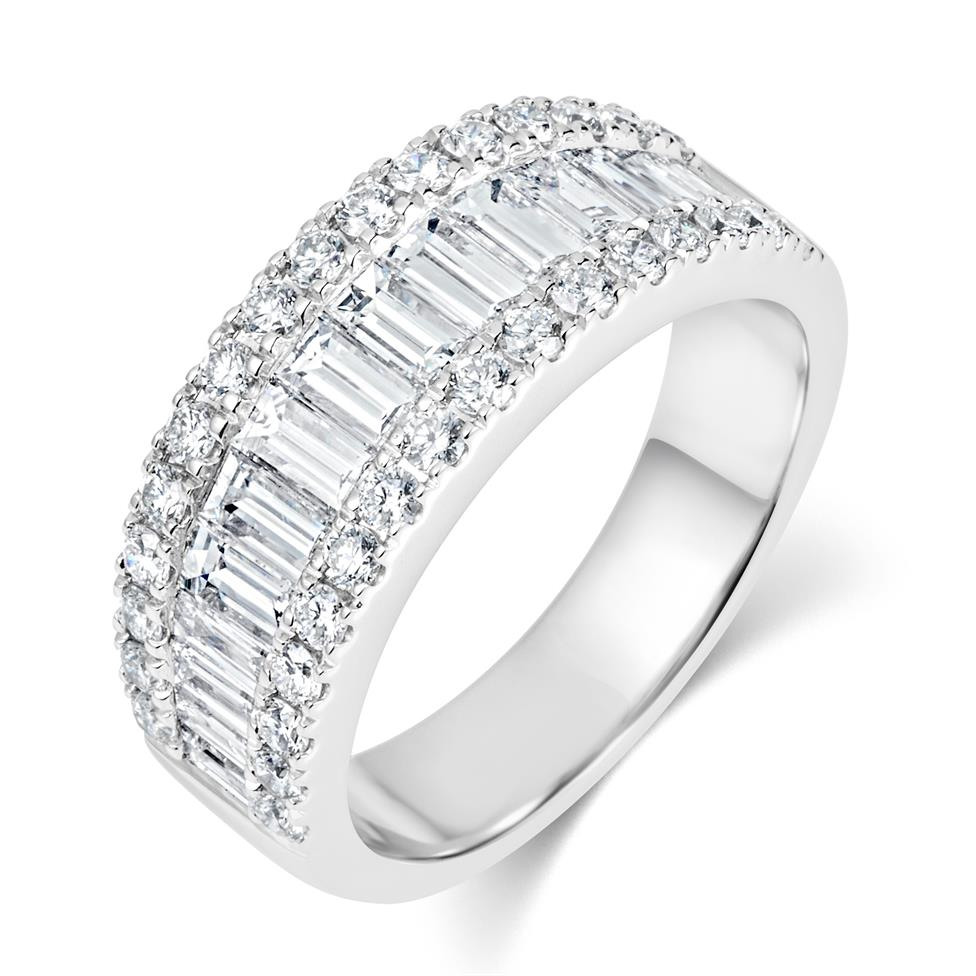 18ct White Gold Three Row Baguette Cut and Round Diamond Dress Ring 2.18ct Thumbnail Image 0