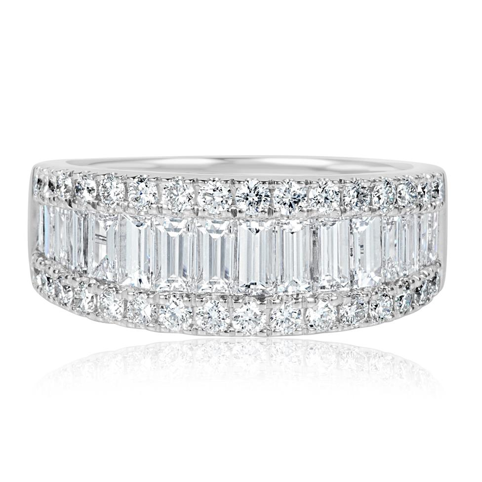 18ct White Gold Three Row Baguette Cut and Round Diamond Dress Ring 2.18ct Thumbnail Image 1
