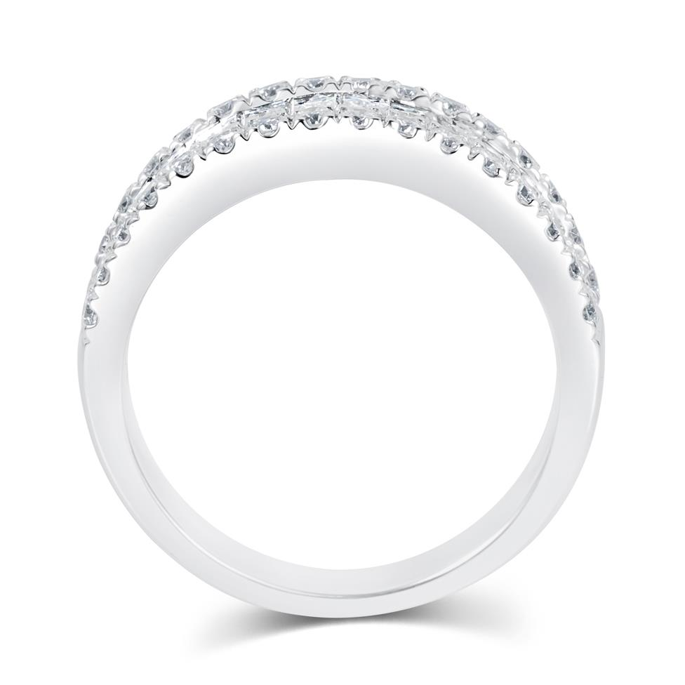 18ct White Gold Three Row Baguette Cut and Round Diamond Dress Ring 2.18ct Thumbnail Image 2