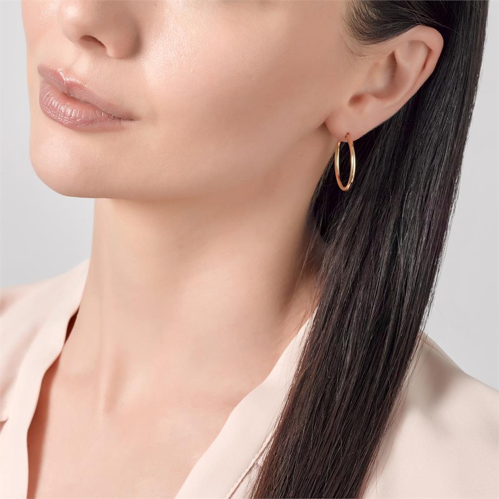 18ct Yellow Gold Hoop Earrings 25mm Thumbnail Image 1