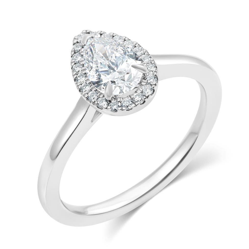 Platinum Pear Shape Diamond Halo Engagement Ring 0.85ct Thumbnail Image 0