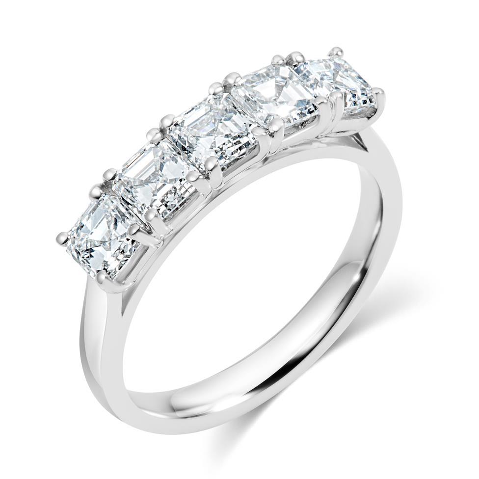 Platinum Asscher Cut Diamond Five Stone Engagement Ring 1.99ct Thumbnail Image 0