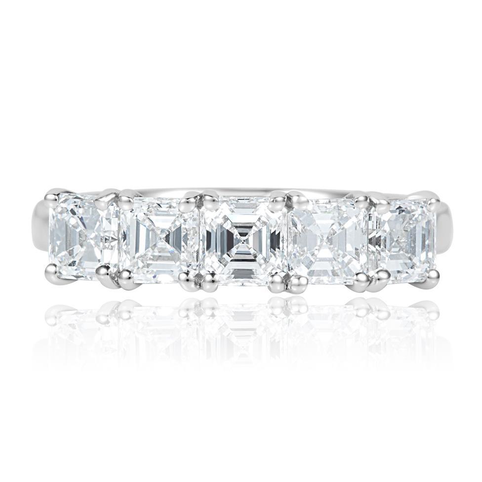 Platinum Asscher Cut Diamond Five Stone Engagement Ring 1.99ct Thumbnail Image 1