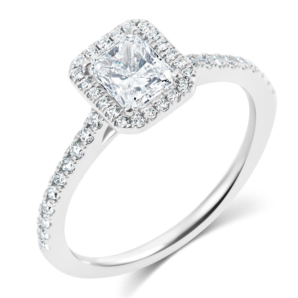 Platinum Radiant Cut Diamond Halo Engagement Ring 1.00ct Thumbnail Image 0