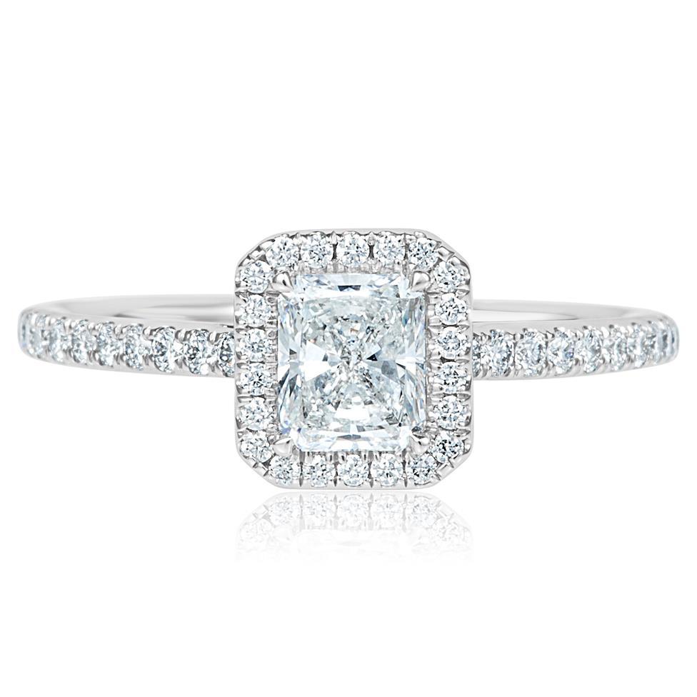 Platinum Radiant Cut Diamond Halo Engagement Ring 1.00ct Thumbnail Image 1