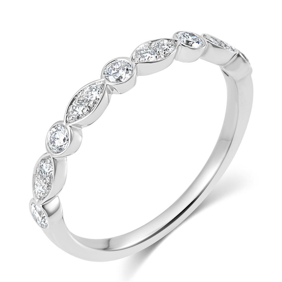 Platinum Alternating Marquise Diamond Half Eternity Ring 0.35ct Thumbnail Image 0