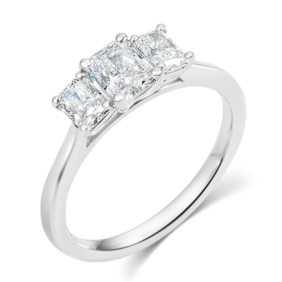 Platinum Radiant Cut Diamond Three Stone Engagement Ring 1.06ct Thumbnail Image 0