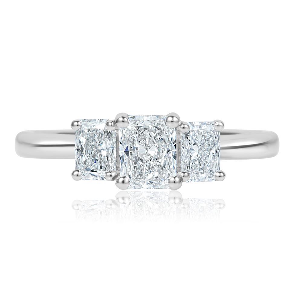 Platinum Radiant Cut Diamond Three Stone Engagement Ring 1.06ct Thumbnail Image 1