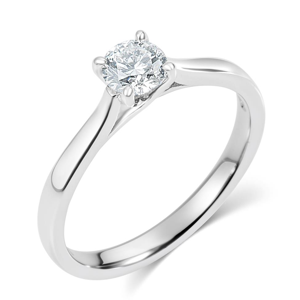 Platinum Diamond Solitaire Engagement Ring 0.35ct Thumbnail Image 0