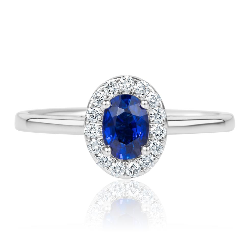 18ct White Gold Sapphire and Diamond Halo Engagement Ring Thumbnail Image 1