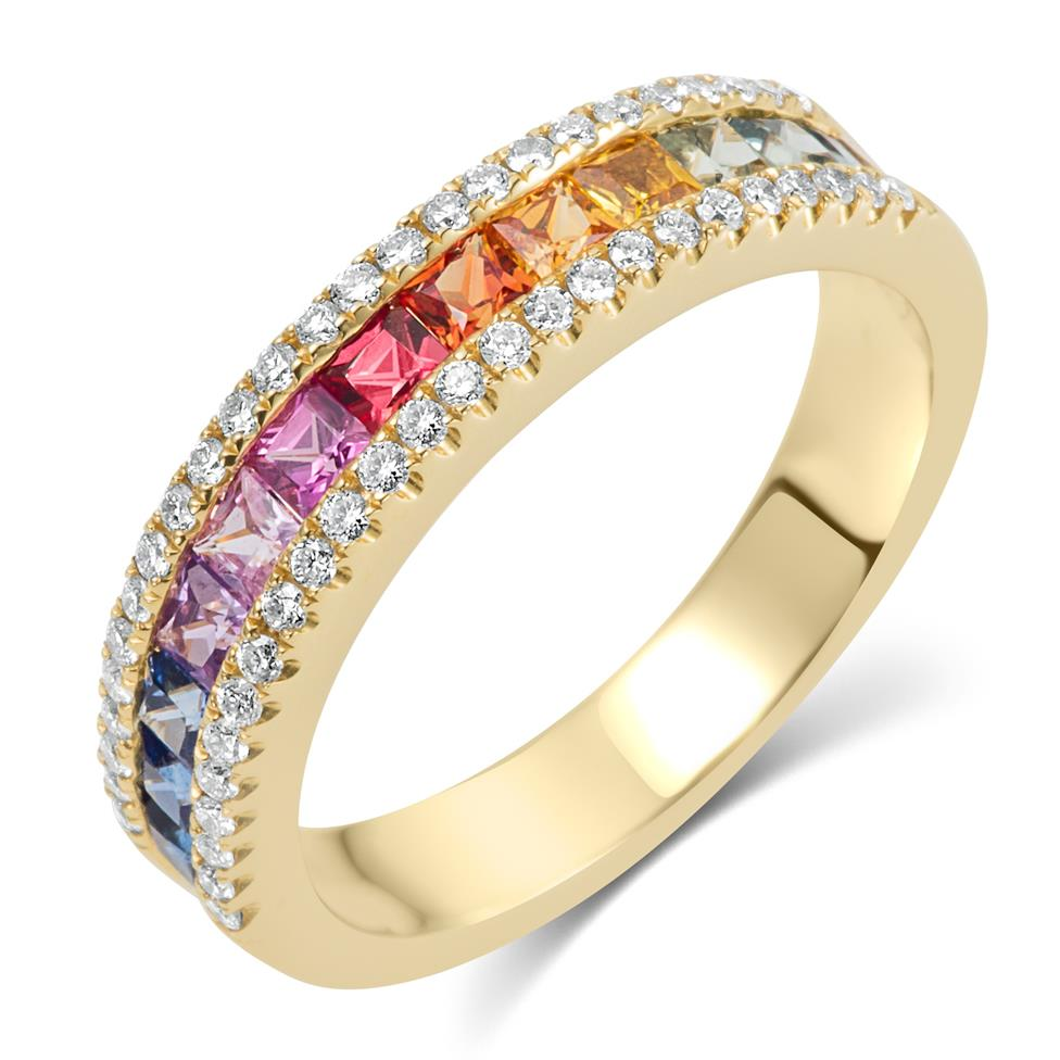 Samba 18ct Yellow Gold Rainbow Sapphire and Diamond Dress Ring Thumbnail Image 0