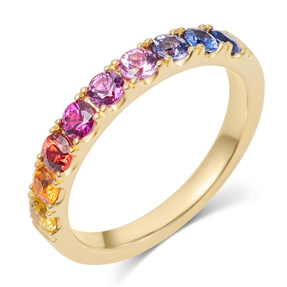 Samba 18ct Yellow Gold Rainbow Sapphire Half Eternity Ring Thumbnail Image 0