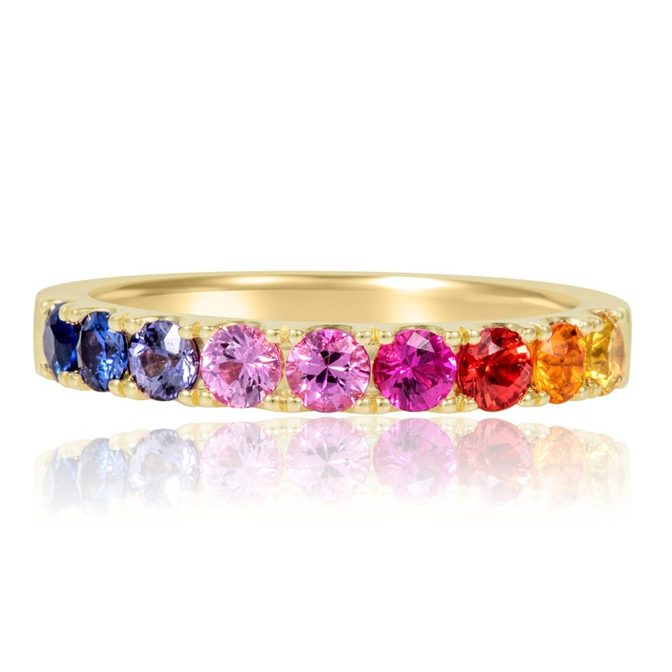 Samba 18ct Yellow Gold Rainbow Sapphire Half Eternity Ring Thumbnail Image 1