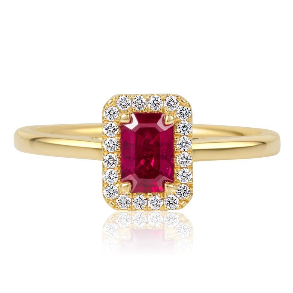 18ct Yellow Gold Emerald Cut Ruby and Diamond Halo Engagement Ring Thumbnail Image 2