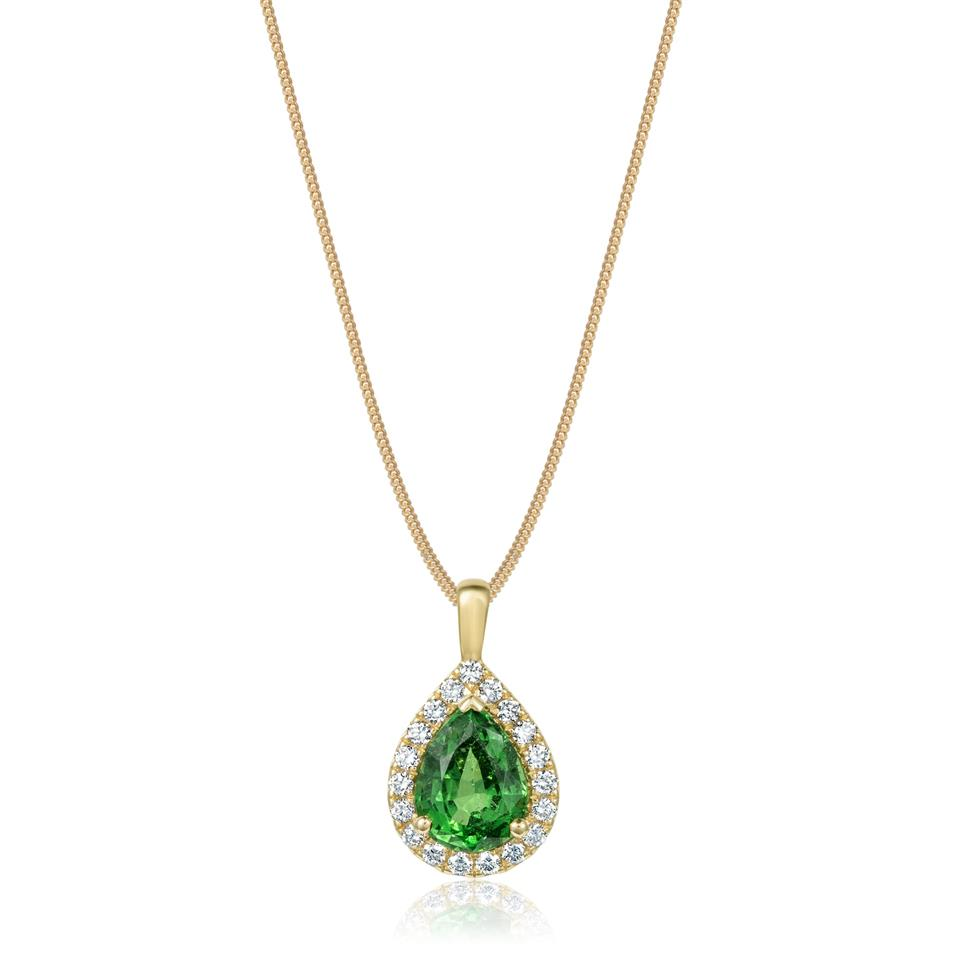 18ct Yellow Gold Pear Shape Tsavorite and Diamond Halo Pendant Image 1