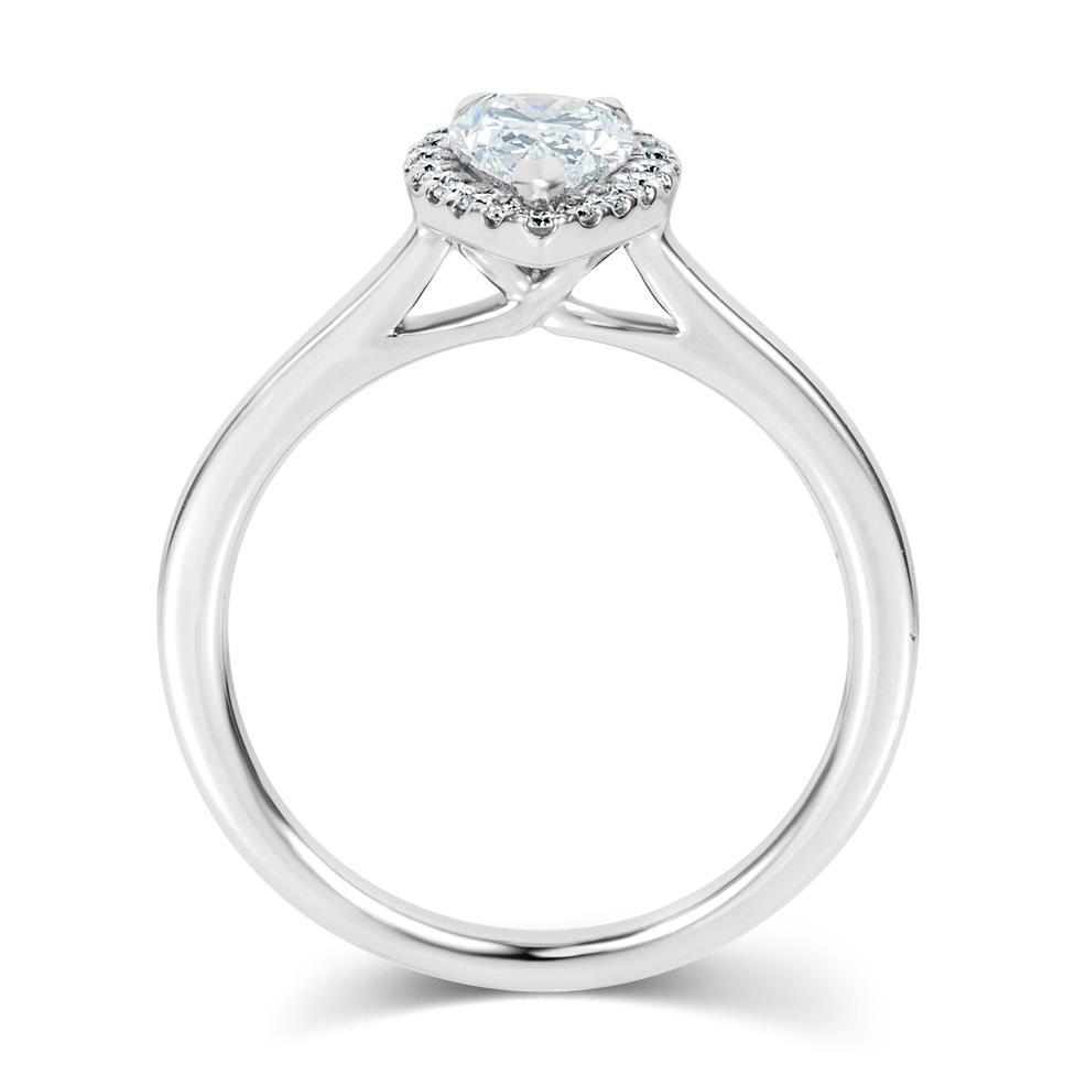 Platinum Pear Shape Diamond Halo Engagement Ring 0.85ct Thumbnail Image 2