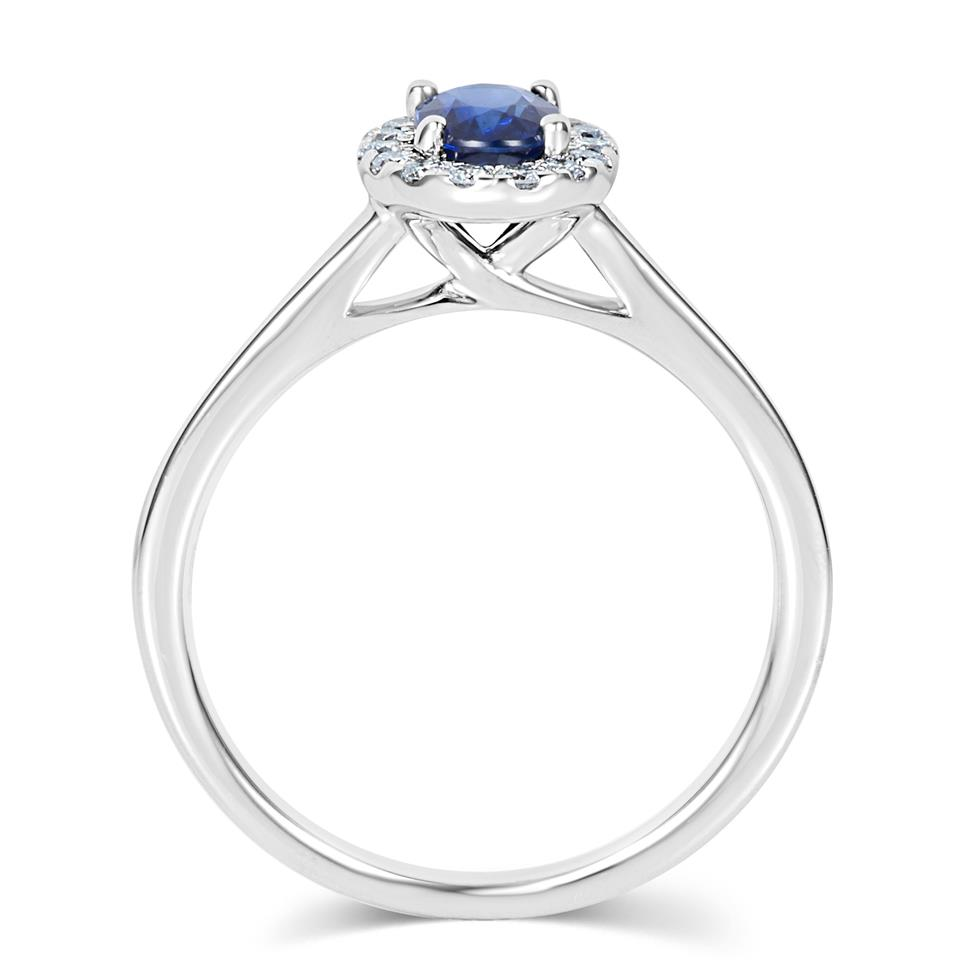 18ct White Gold Sapphire and Diamond Halo Engagement Ring Thumbnail Image 2