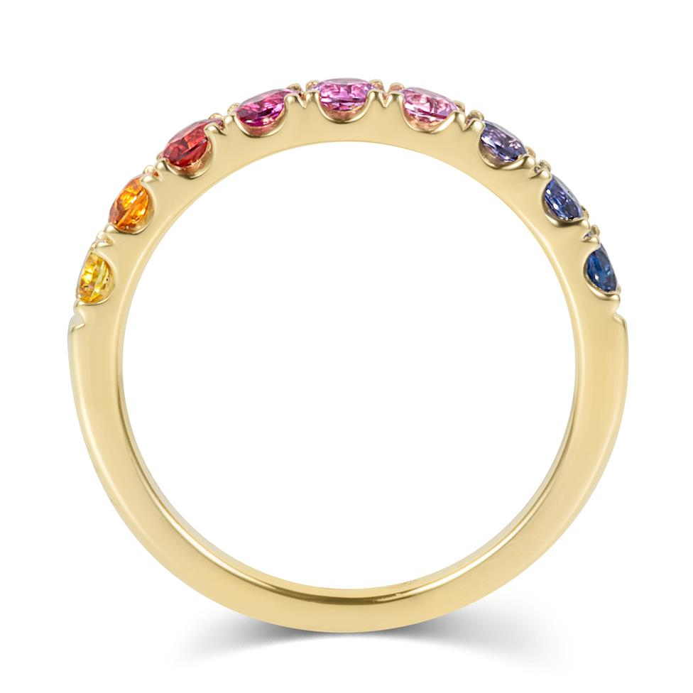 Samba 18ct Yellow Gold Rainbow Sapphire Half Eternity Ring Thumbnail Image 2